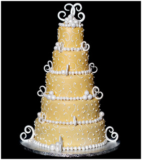 Yellow 5-tierd Wedding Cake